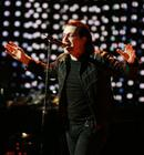 U2's lead singer Bono performs during the Vertigo Tour at Madison Square Garden in New York, Monday, Nov. 21, 2005. (AP Photo/Jeff Christensen)
