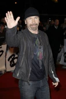 Musician The Edge from British band U2 arrives at the Brit Awards 2009 at Earls Court exhibition centre in London, England, Wednesday, Feb. 18, 2009. (AP Photo/Joel Ryan)