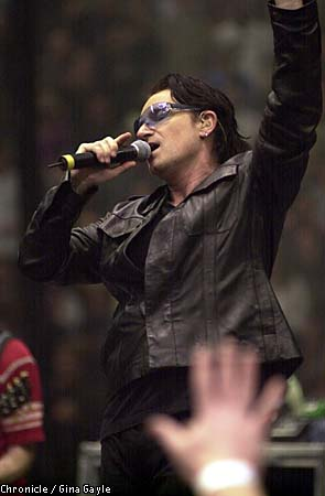 Bono of U2 performed at the Compaq Center in San Jose. San Francisco Chronicle photo by Gina Gayle