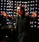 U2's lead singer Bono performs during the Vertigo Tour at Madison Square Garden in New York, Monday, Nov. 21, 2005. (AP Photo/Jeff Christensen)
