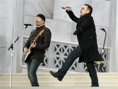 Bono (R) and The Edge of U2 perform 'In the Name of Love' during the We Are One: Opening Inaugural Celebration at the Lincoln Memorial in Washington, January 18, 2009. (Kevin Lamarque/Reuters)