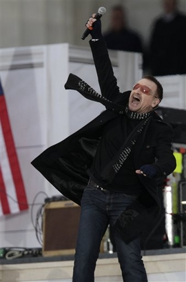 Bono, lead singer for the band U2, performs during the ' We Are One: Opening Inaugural Celebration at the Lincoln Memorial' in Washington, Sunday, Jan. 18, 2009. (AP Photo/Carolyn Kaster)